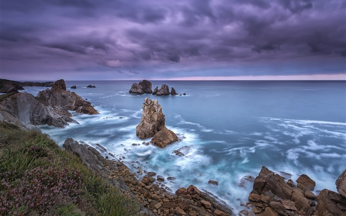 Northern Spain, Cantabria, coast, sea, rocks, clouds, dusk Wallpapers Pictures Photos Images