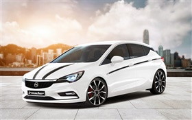 Opel Astra white car HD wallpaper
