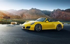 Porsche 911 Carrera yellow supercar HD wallpaper
