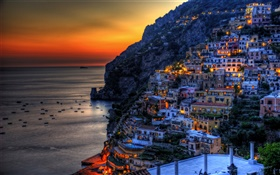 Positano, Italy, beautiful sunset, sea, coast, mountains, houses, lights HD wallpaper