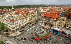 Prague, Old Town Square, city, houses, street, people HD wallpaper