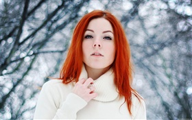 Pretty girl, red hair, winter, snow HD wallpaper
