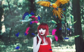 Red hair girl, colorful feathers, birds, creative pictures HD wallpaper
