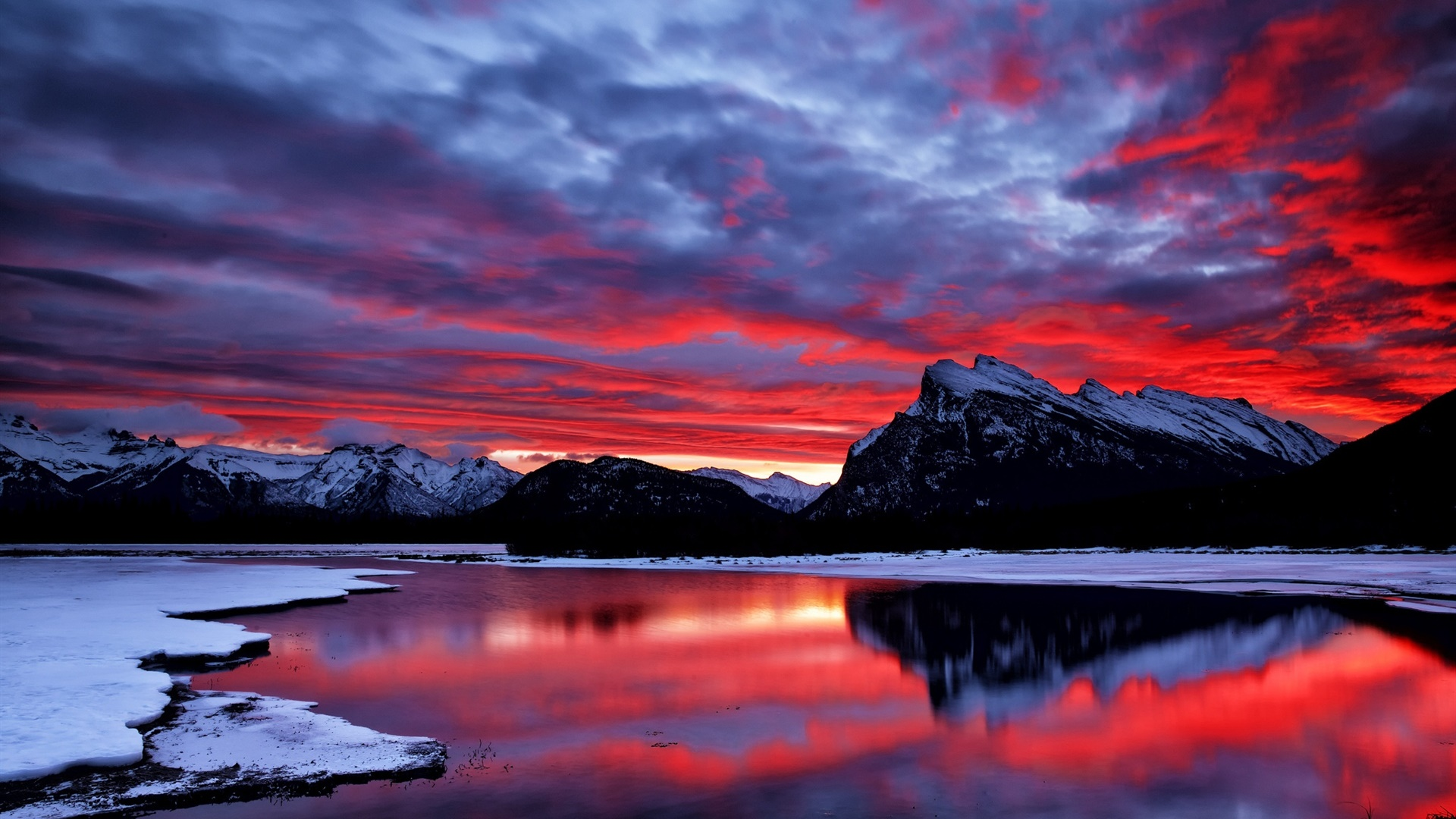 Red Sky Clouds Glow Sunset Mountain Lake Snow Winter