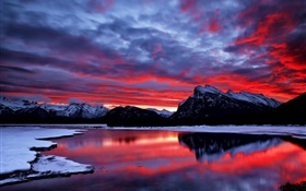 Red sky, clouds, glow, sunset, mountain, lake, snow, winter HD wallpaper