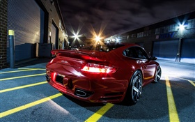 Red supercar rear view, night, city HD wallpaper