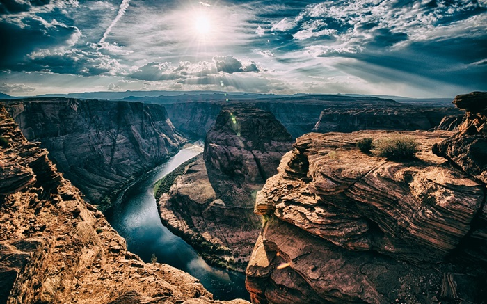 River, Horseshoe Bend, Arizona, USA, canyon, sun, clouds Wallpapers Pictures Photos Images