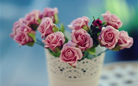 Rose flowers, pink, vase, blur background HD wallpaper