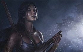 Tomb Raider, girl, shotgun, rain