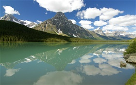 Waterfowl Lake, Banff National Park, Alberta, Canada, clouds, mountains, forest HD wallpaper