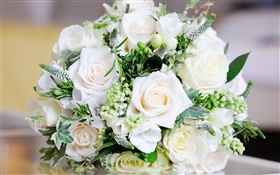 White roses, bouquet flowers, leaves HD wallpaper