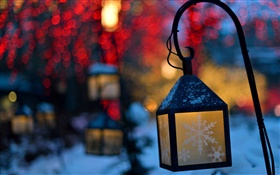 Winter, lanterns, lights, night, snowflakes