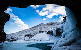 Winter, snow, ice, cave, mountain, clouds, blue sky HD wallpaper