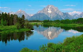 Wyoming, USA, Grand Teton National Park, mountains, lake, trees HD wallpaper