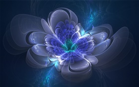 3D drawing, blue flower, glow, abstract
