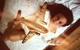 Airplane model, golden, girl HD wallpaper
