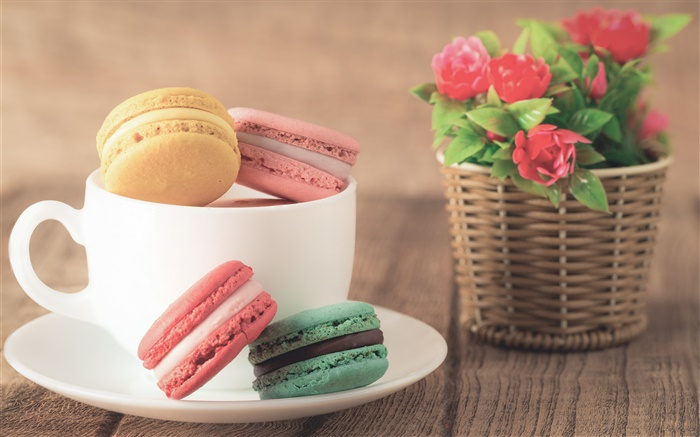 Almond cookies, dessert, colorful, cup, flowers Wallpapers Pictures Photos Images