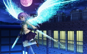 Angel Beats, girl flying, wings HD wallpaper
