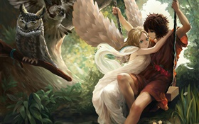Anime angel girl, wings, boy, swing, owl HD wallpaper