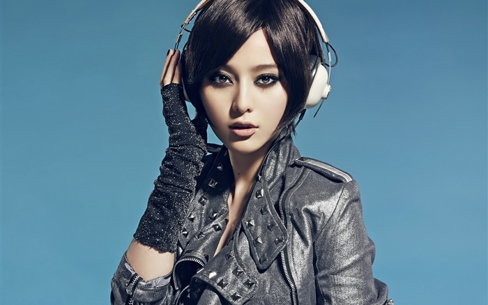 Asian girl, look, headphones, blue background Wallpapers Pictures Photos Images