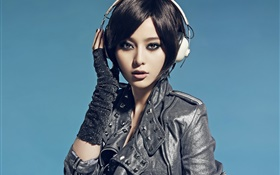 Asian girl, look, headphones, blue background