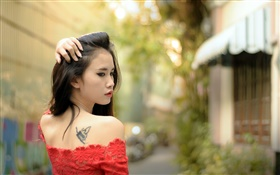 Asian girl, tattoo, red dress, look back HD wallpaper
