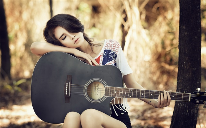 Asian guitar girl, music, rest Wallpapers Pictures Photos Images