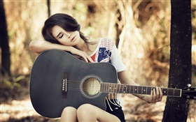 Asian guitar girl, music, rest HD wallpaper