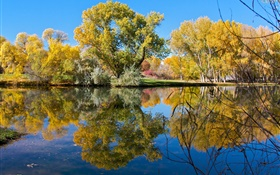 Autumn, pond, lake, park, trees, water reflection HD wallpaper