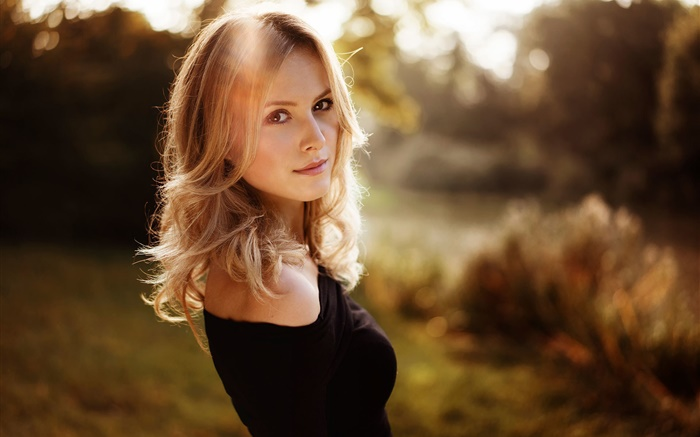 Black dress blonde girl, sunshine Wallpapers Pictures Photos Images