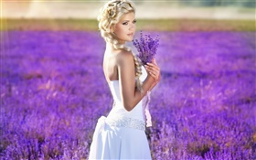 Blonde girl, bride, lavender flowers field HD wallpaper