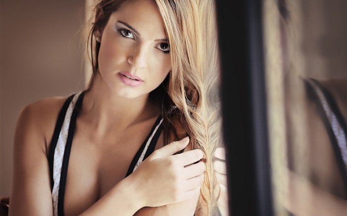 Blonde girl, face, eyes, lips, window Wallpapers Pictures Photos Images
