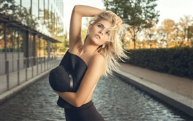 Blonde girl, hair flying, hat, black dress HD wallpaper
