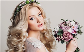Blonde girl, makeup, bouquet flowers, wreath HD wallpaper