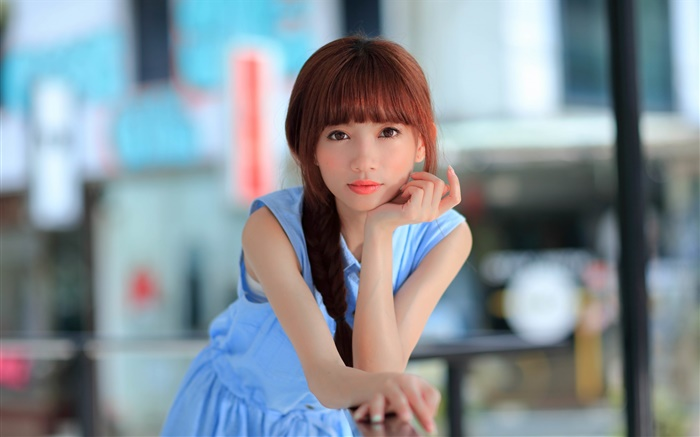 Blue dress Asian young girl, look Wallpapers Pictures Photos Images