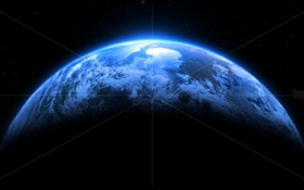 Blue planet, white lines HD wallpaper