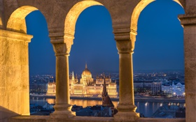 Budapest, Hungary, Parliament, river, night, lights