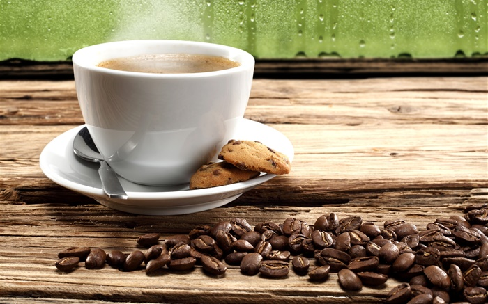 Coffee beans, cookies, cup, steam Wallpapers Pictures Photos Images