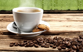 Coffee beans, cookies, cup, steam HD wallpaper