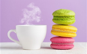 Colorful almond, cookies, cup, coffee, steam HD wallpaper
