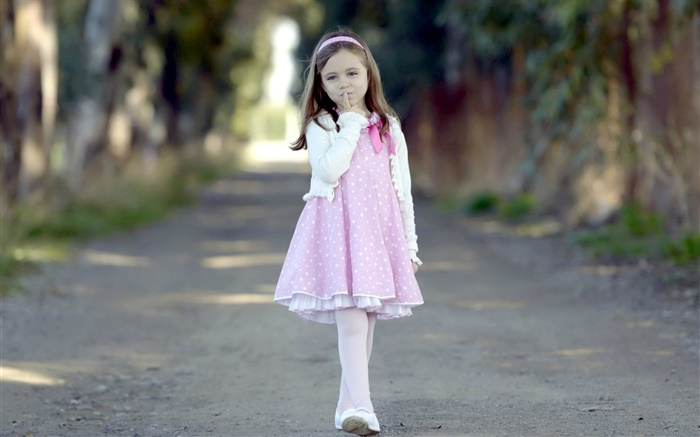 Cute children, pink dress girl, road, trees Wallpapers Pictures Photos Images