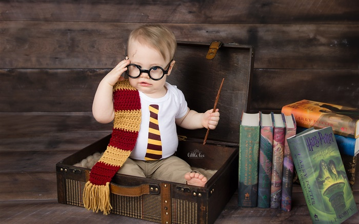 Cute little boy, suitcase, books, glasses Wallpapers Pictures Photos Images