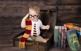 Cute little boy, suitcase, books, glasses HD wallpaper