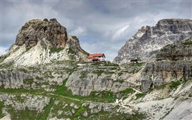 Dolomites, Italy, clouds, rocks, mountains, house HD wallpaper