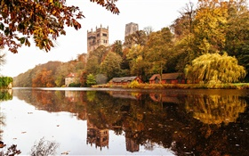 England, Durham, house, trees, river, water reflection HD wallpaper