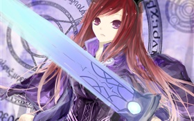 Fairy Tail, red hair girl, sword, anime HD wallpaper