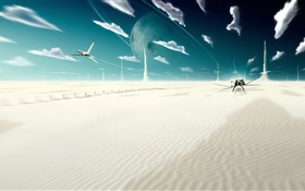 Fantasy world, creative, clouds, planet, desert, planes HD wallpaper