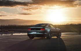 Ford Mustang 2015 GT supercar at sunset HD wallpaper