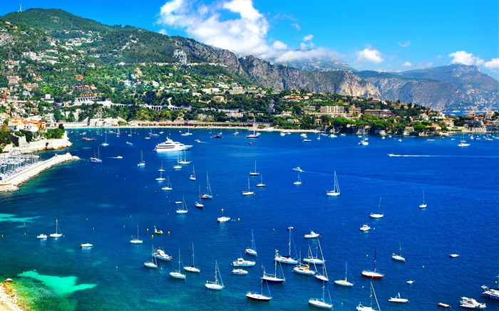 France, coast, pier, boats, yachts, houses, mountains, sky Wallpapers Pictures Photos Images