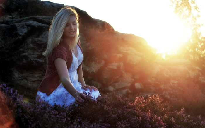 Girl in the morning, light, sunrise, flowers Wallpapers Pictures Photos Images